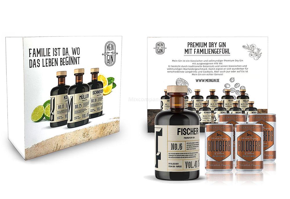 Mein Gin + Tonic Giftbox Geschenkset - Fischer Premium Dry Gin 0,5l (41% Vol) - Fischer s Gin No.6 + 4x Goldberg Intense Ginger 150ml inkl. Pfand EINWEG -[Enthält Sulfite]