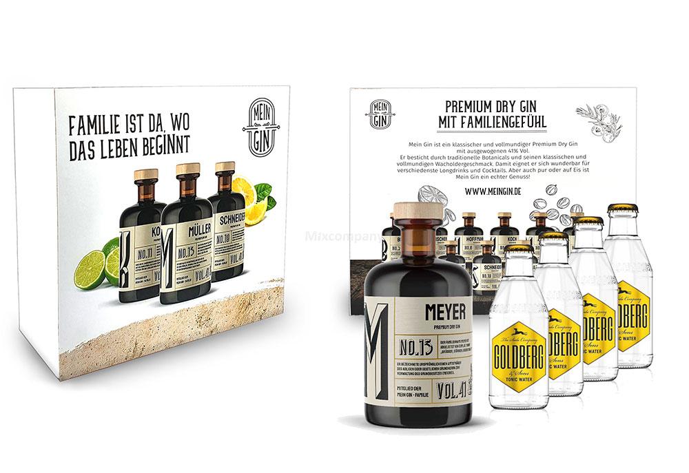 Mein Gin + Tonic Giftbox Geschenkset - Meyer Premium Dry Gin 0,5l (41% Vol) - Meyer s Gin No.13 + 4x Goldberg Tonic Water 200ml inkl. Pfand MEHRWEG -[Enthält Sulfite]