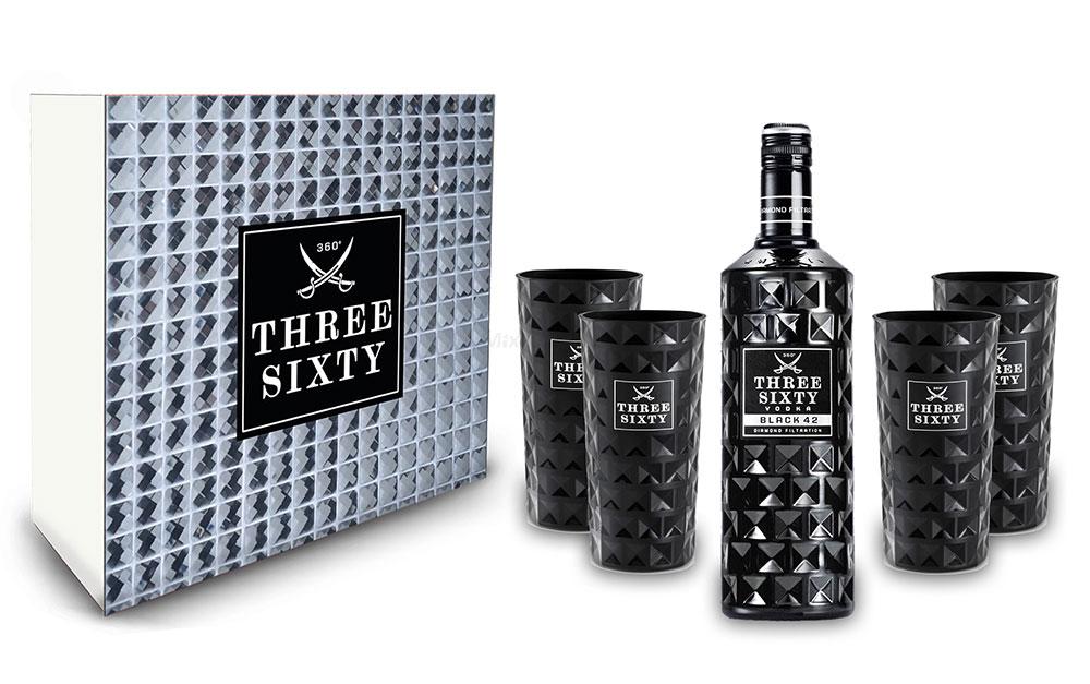 Three Sixty Schuber Geschenkset - Three Sixty Black Vodka Wodka 0,7L 700ml (42% Vol) + 4x Black Gläser eckig Longdrink Gläser Glas - Kristall Glas Schwarze Edition [Enthält Sulfite]