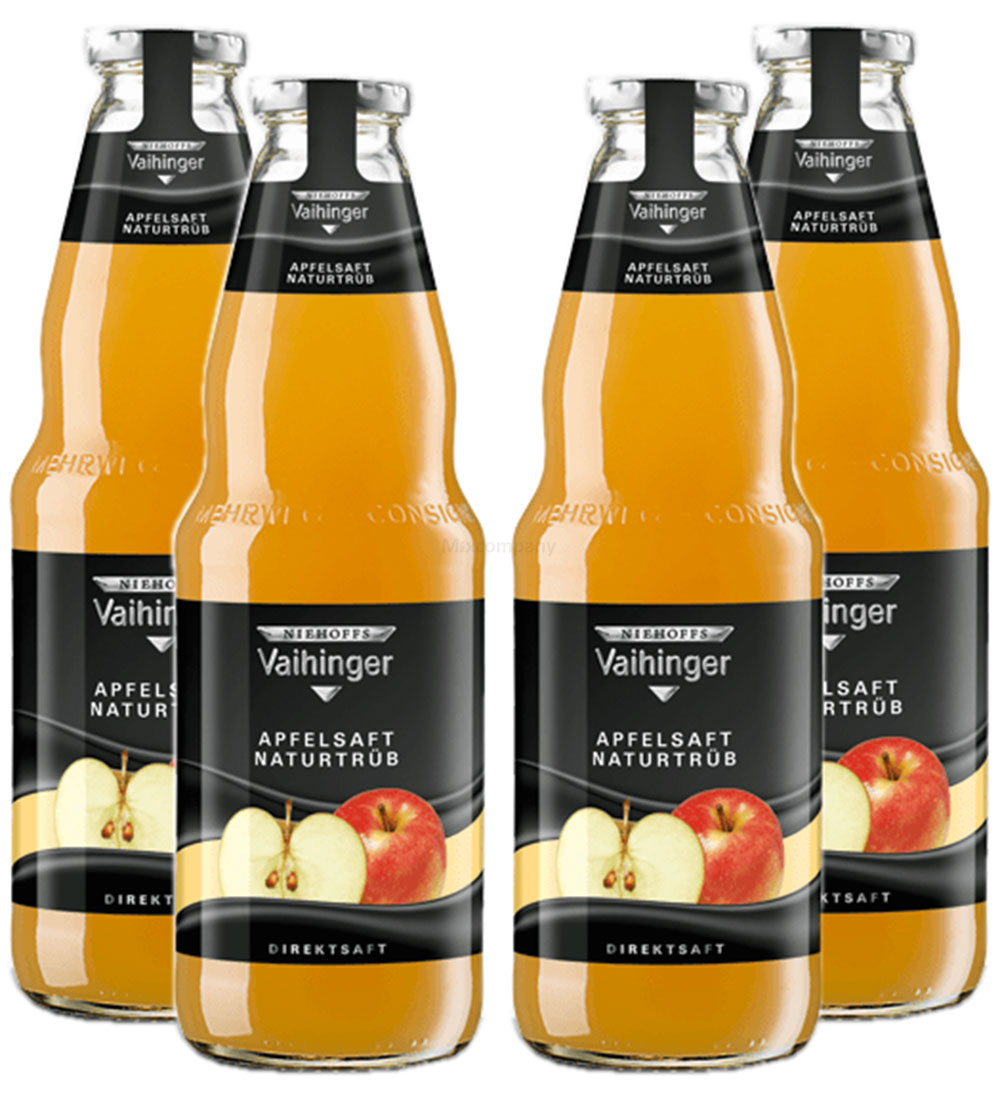 Niehoffs Vaihinger Apfelssaft trüb 1L TWO - 4er Set inkl. Pfand MEHRWEG