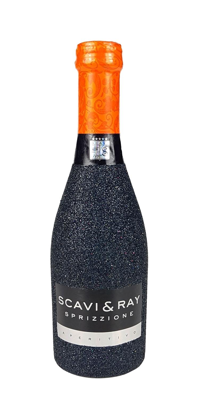 Scavi & Ray Sprizzione Aperitivo 20cl (8% Vol) - Bling Bling Glitzerflasche in schwarz -[Enthält Sulfite]