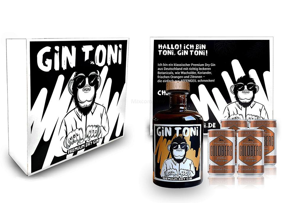 Gin Tonic Giftbox Geschenkset - Affengeiler Gin - Gin Toni Premium Dry Gin 0,5l (41% Vol) + 4x Goldberg Intense Ginger 150ml inkl. Pfand MEHRWEG -[Enthält Sulfite]