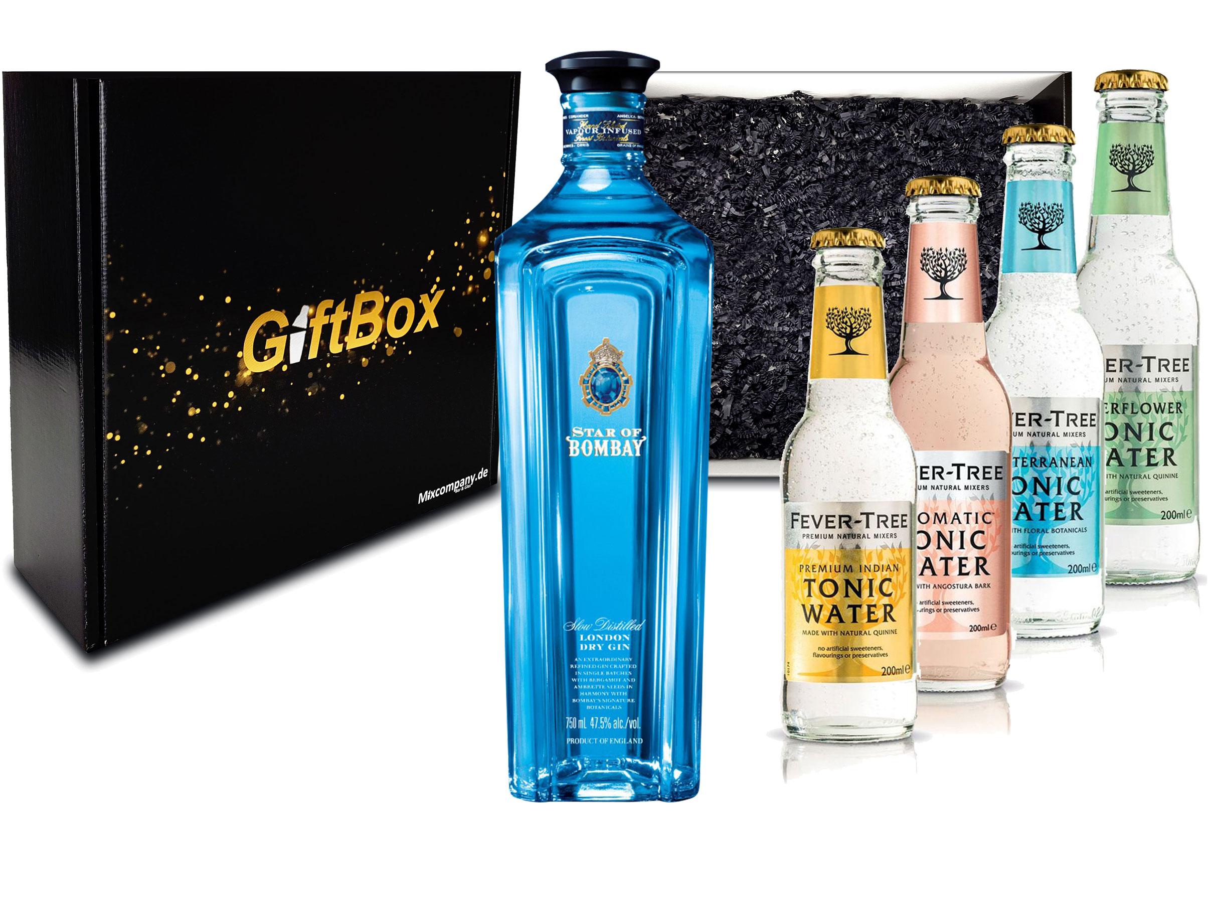 Gin Tonic Set Giftbox Geschenkset - Star of Bombay Slow Distilled London Dry Gin 0,7l (47,5% Vol) + 4x Fever Tree Tonic Water Mix je 200ml inkl. Pfand MEHRWEG -[Enthält Sulfite]