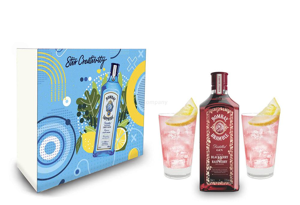 Bombay Bramble Schuber Geschenkset Gin 0,7l (37,5% Vol) + 2er Set Longdrink Glas / Gläser