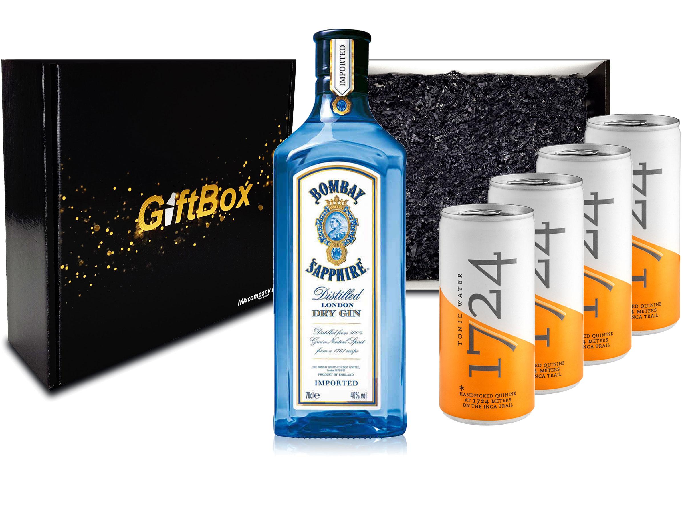 Gin Tonic Set Giftbox Geschenkset - Bombay Sapphire London Dry Gin 0,7l 700ml (40% Vol) + 4x 1724 Tonic Water Dose 200ml inkl. Pfand EINWEG -[Enthält Sulfite]