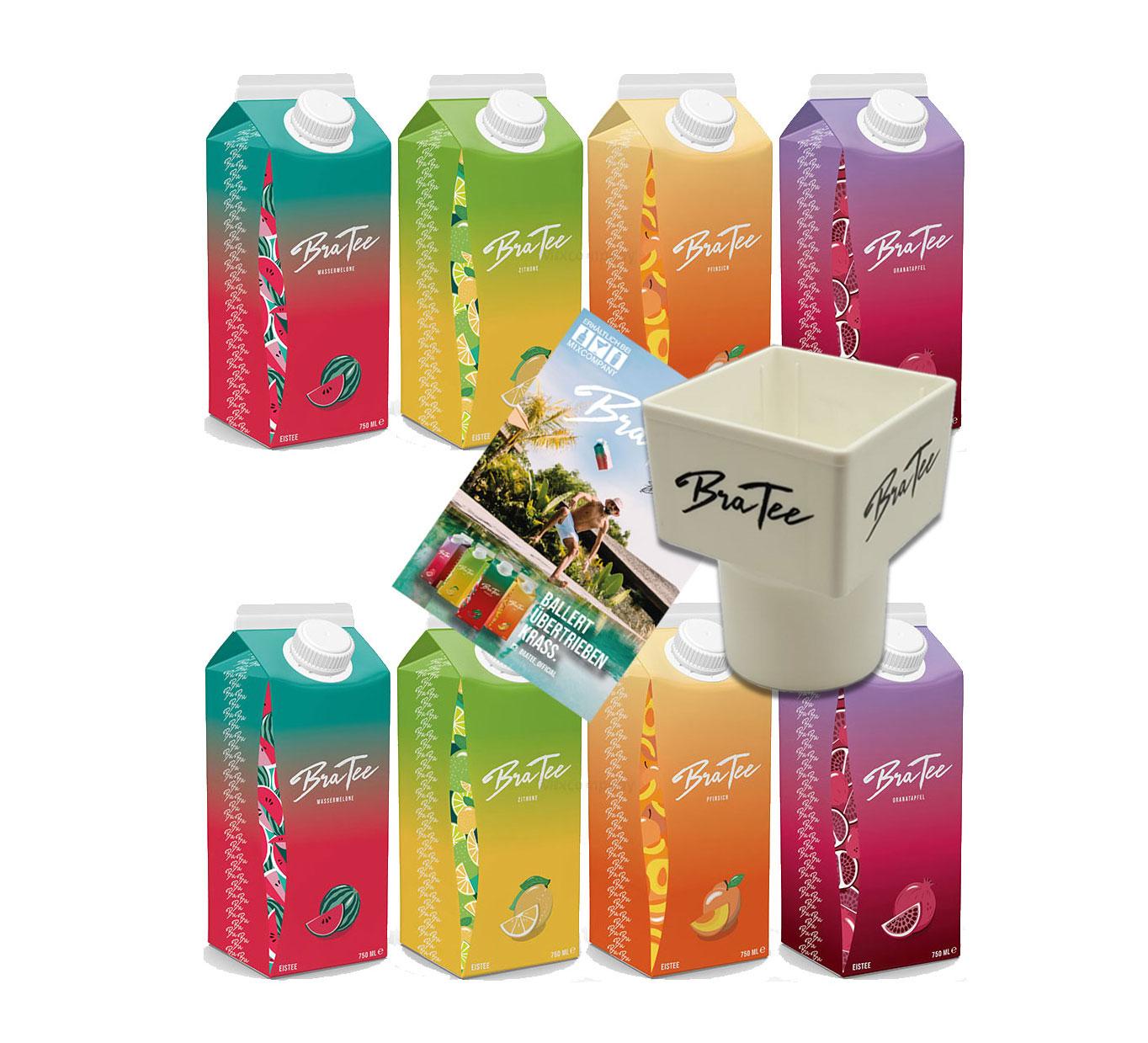 Capital BraTee 8er Tasting Set Eistee je 750ml + Gratis Getränkehalter + Autogrammkarte BRATEE Ice tea 2x Wassermelone 2x Zitrone 2x Pfirsich 2x Granatapfel - mit Capi-Qualitäts-Siegel