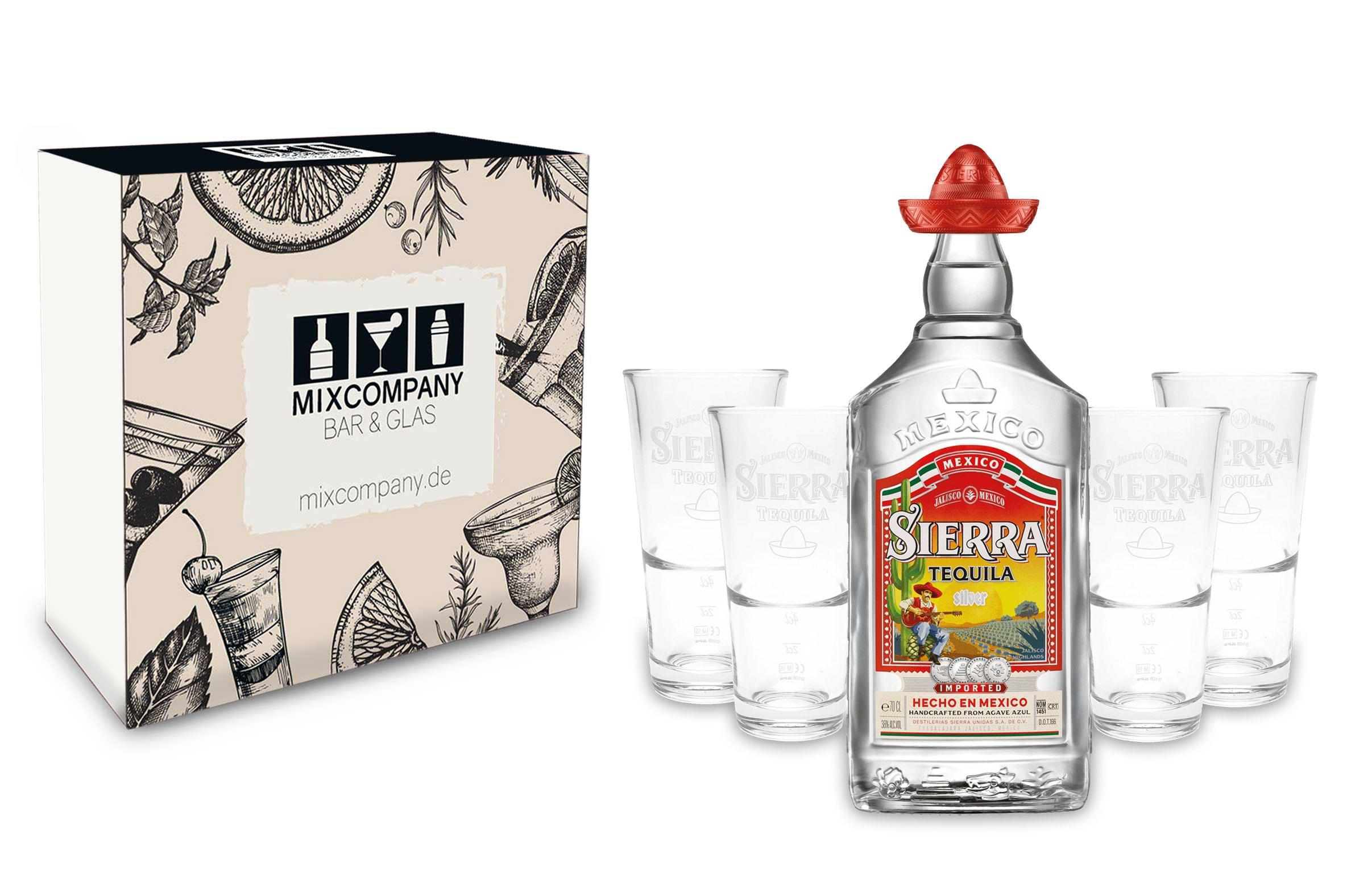 Sierra Tequila Set - Sierra Tequila Silver 0,7l 700ml (38% Vol) + 4x Sierra Tequila Gläser