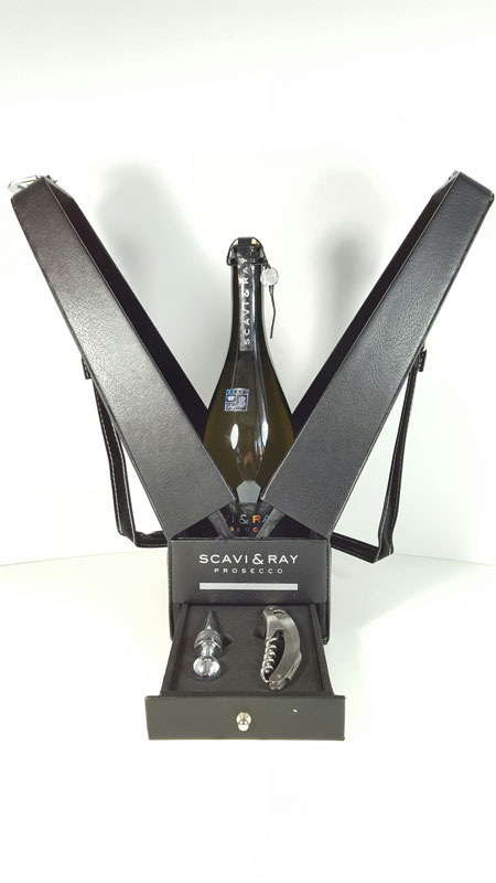 Scavi & Ray Sommelier Set / Geschenkset - Scavi & Ray Prosecco Frizzante 750ml (10,5% Vol) + 1 Sommelier + 1 Bouchon + Exklusive Verpackung