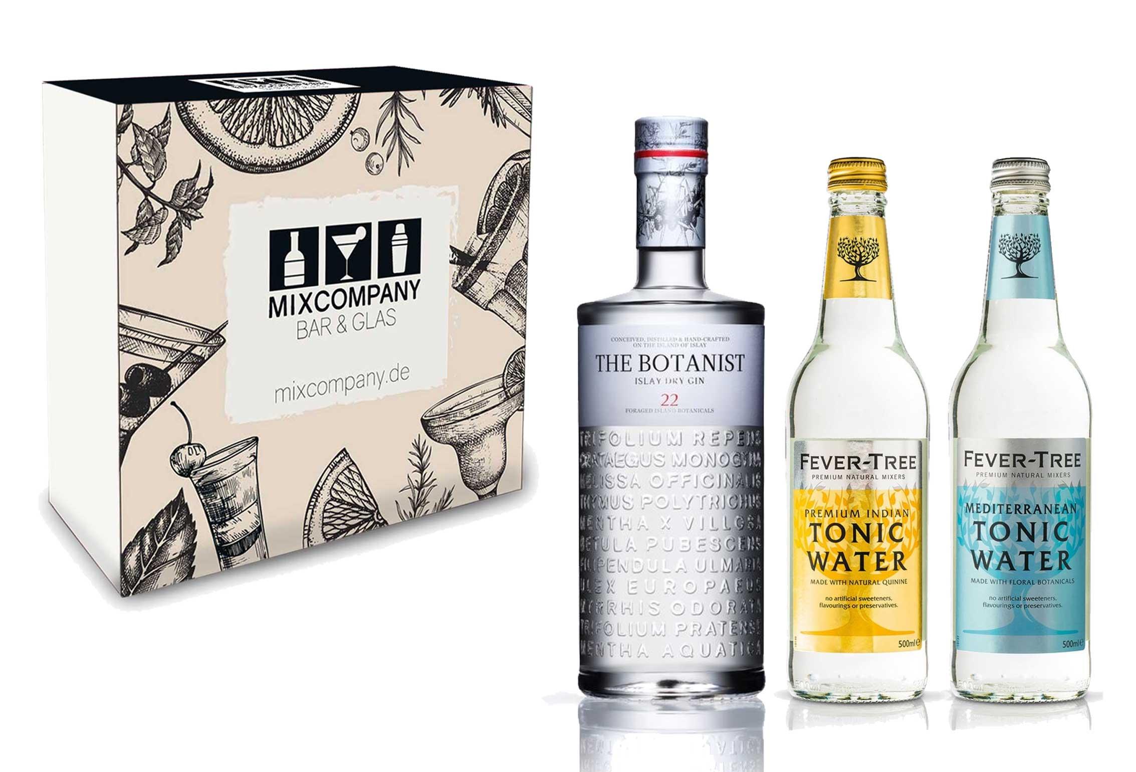 Gin Tonic Set Geschenkset - The Botanist Islay Dry Gin 0,7l 700ml (46% Vol) + 2x Fever Tree Tonic Water Mix je 500ml -[Enthält Sulfite] - Inkl. Pfand MEHRWEG