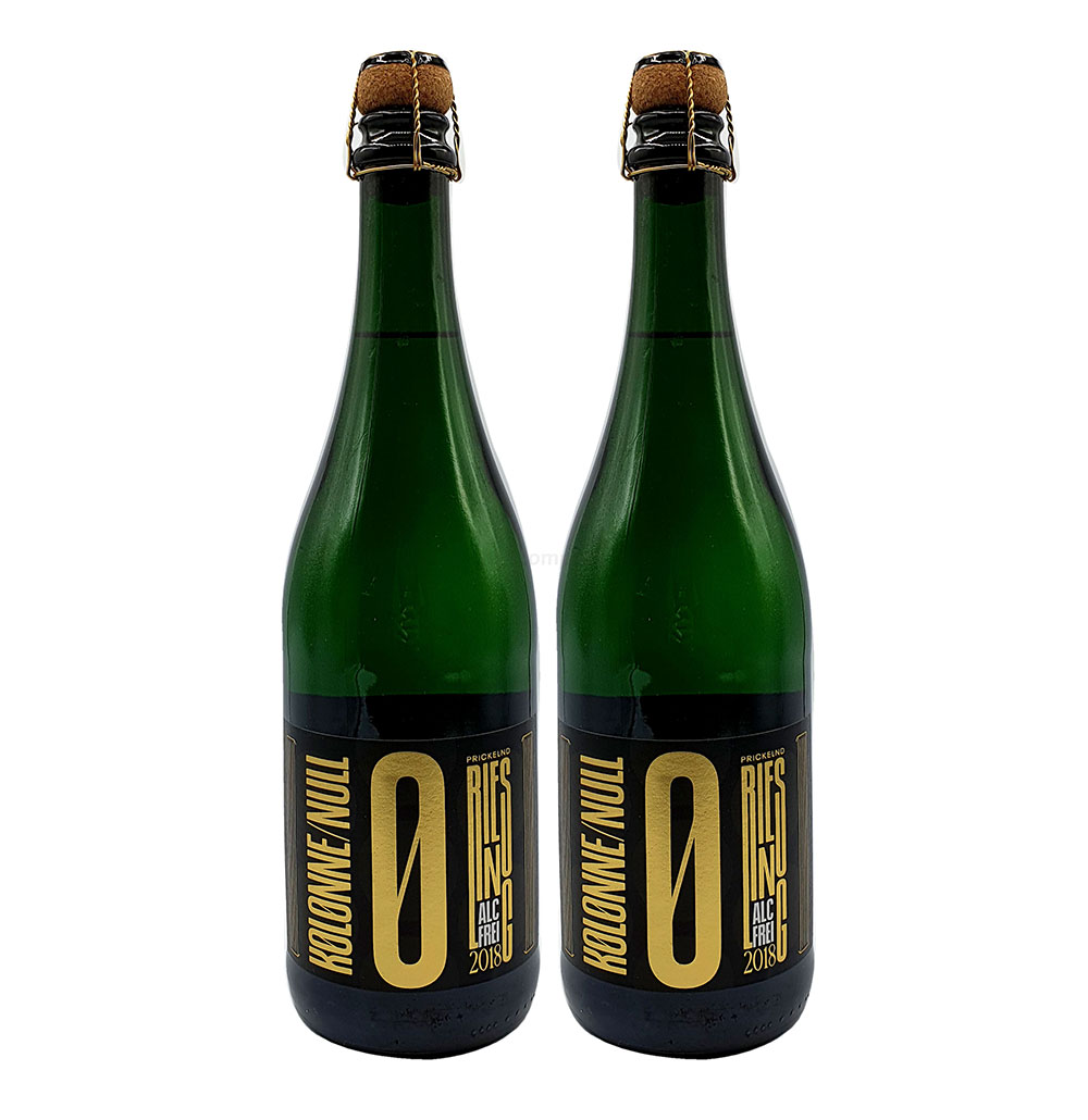 Kolonne Null - 2x 0% Alkohol - PRICKELNDER Riesling mit Korken - Alkoholfreier Riesling Prickelnd 0,75L- [Enthält Sulfite]