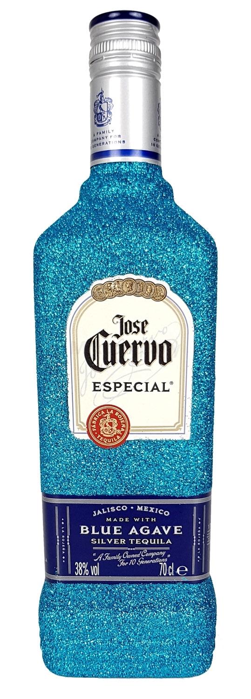 Jose Cuervo Tequila Silver Especial 0,7l 700ml (38% Vol) Bling Bling Glitzerflasche in blau -[Enthält Sulfite]