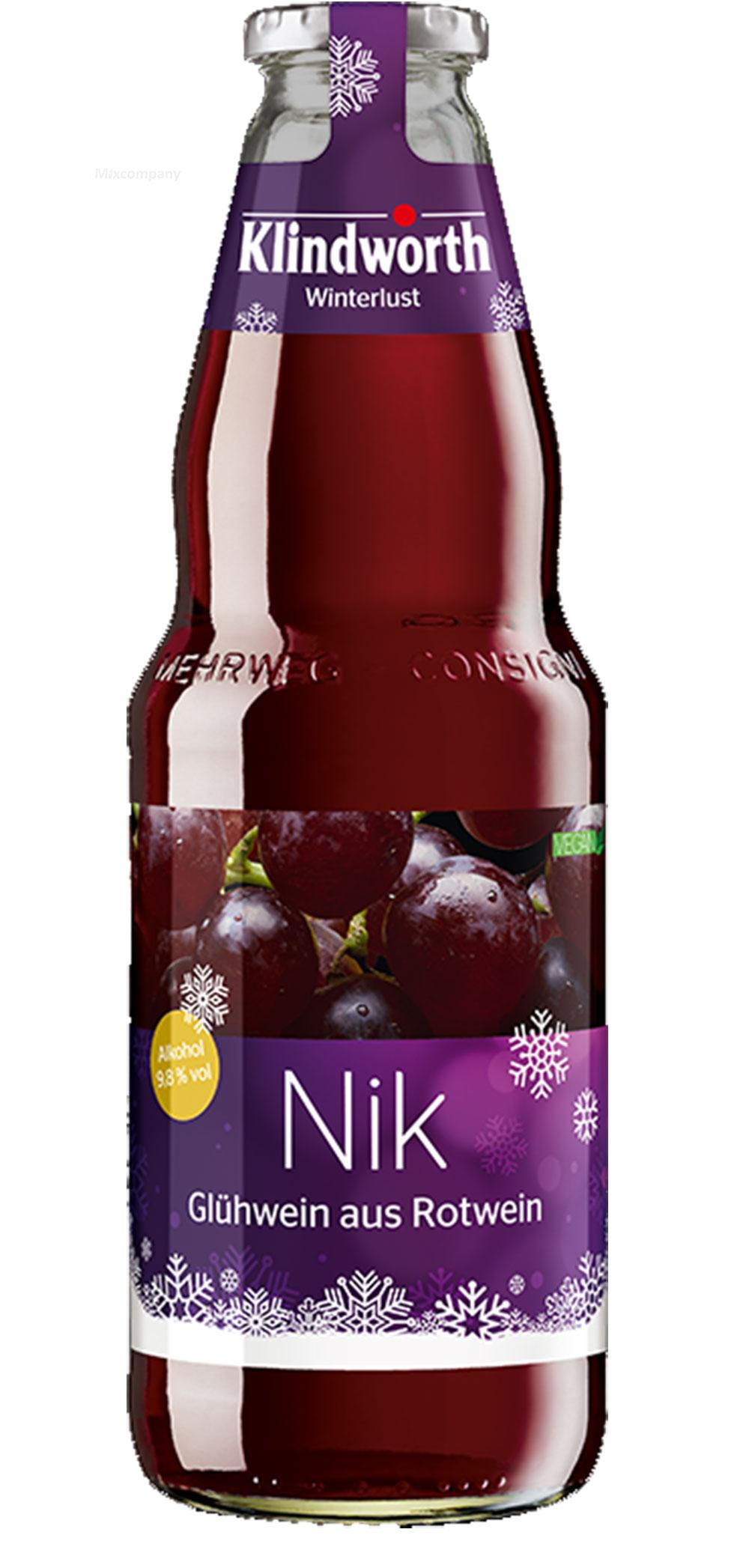 Klindworth Nik 1x Glühwein aus Rotwein - 1x Winterlust Glühwein 1L (9,8% Vol) inkl. Pfand MEHRWEG- [Enthält Sulfite]