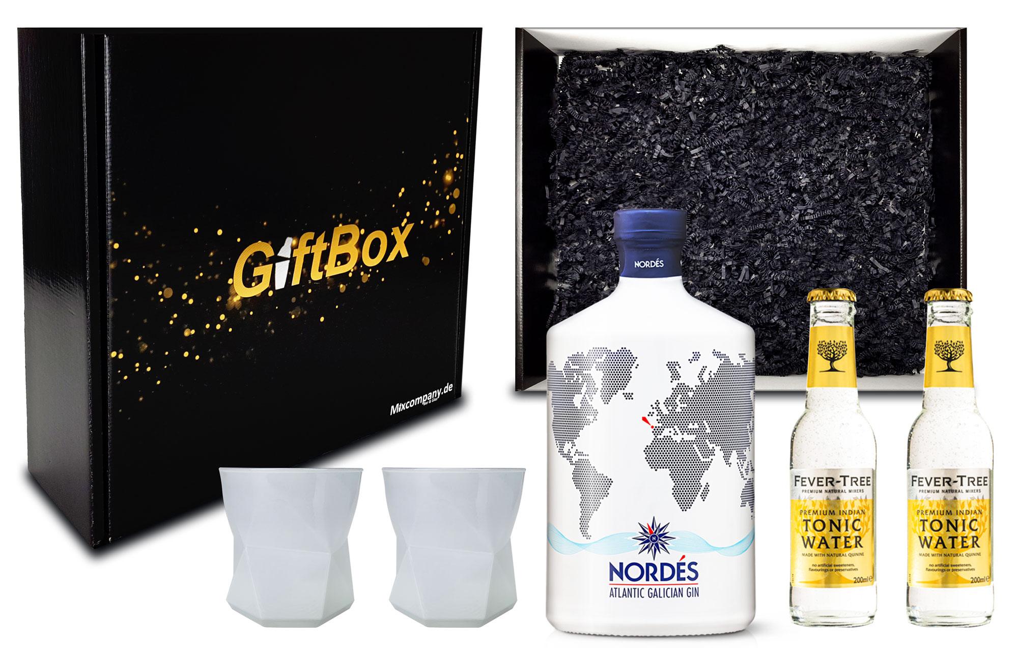 Nordes Atlantic Galician Gin aus Galizien 0,7l (40% Vol) + 2x Gläser Tumbler + 2x Fever-Tree Premium Indian Tonic Water 0,2l MEHRWEG inkl. Pfand mit Geschenkverpackung Giftbox Geschenk Box- [Enthält Sulfite]