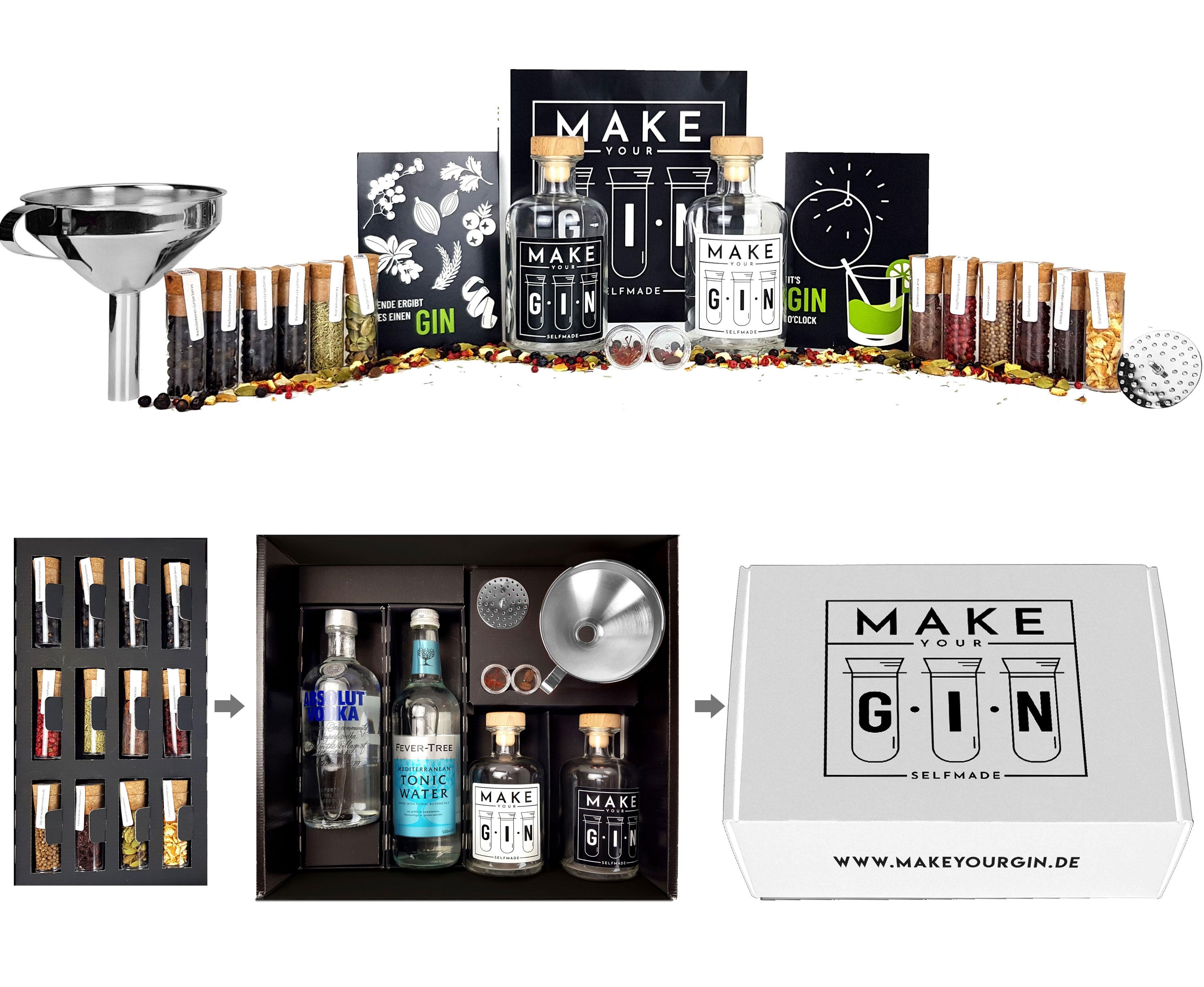 Make Your Gin Geschenkset Geschenkbox in weiß - Gin zum Selbermachen - Absolut Vodka, Fever-Tree Mediterranean Tonic Water 500ml + Botanicals + Bar Trichter + Anleitung mit Rezept