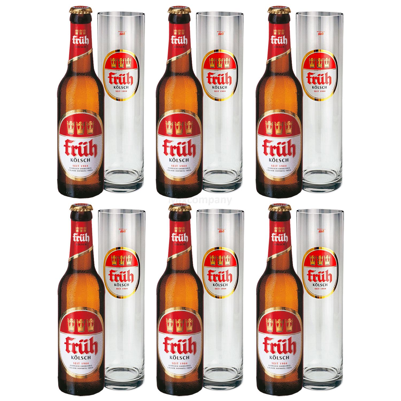Früh Kölsch Set - 6x Früh Kölsch Bier 0,33L (4,8% Vol) + 6x Biergläser / Stangen 0,2L -[Enthält Sulfite] - Inkl. Pfand MEHRWEG