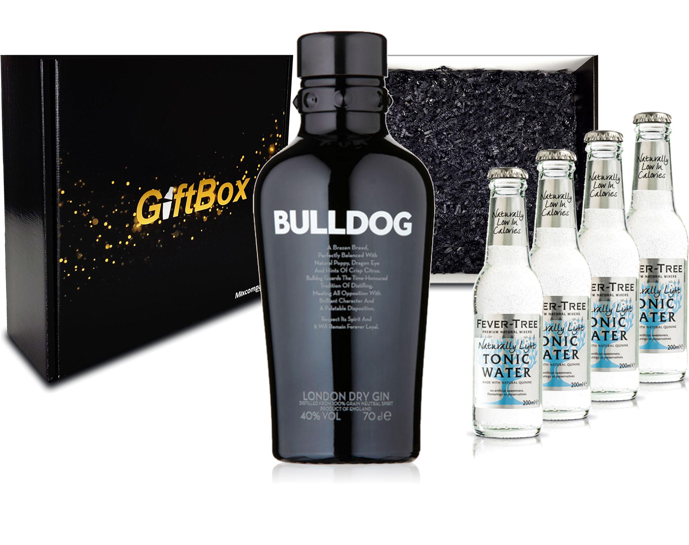 Gin Tonic Giftbox Geschenkset - Bulldog Gin 0,7l 700ml (40% Vol) + 4x Fever Tree Naturally Light Tonic Water 200ml inkl. Pfand MEHRWEG + Geschenkverpackung