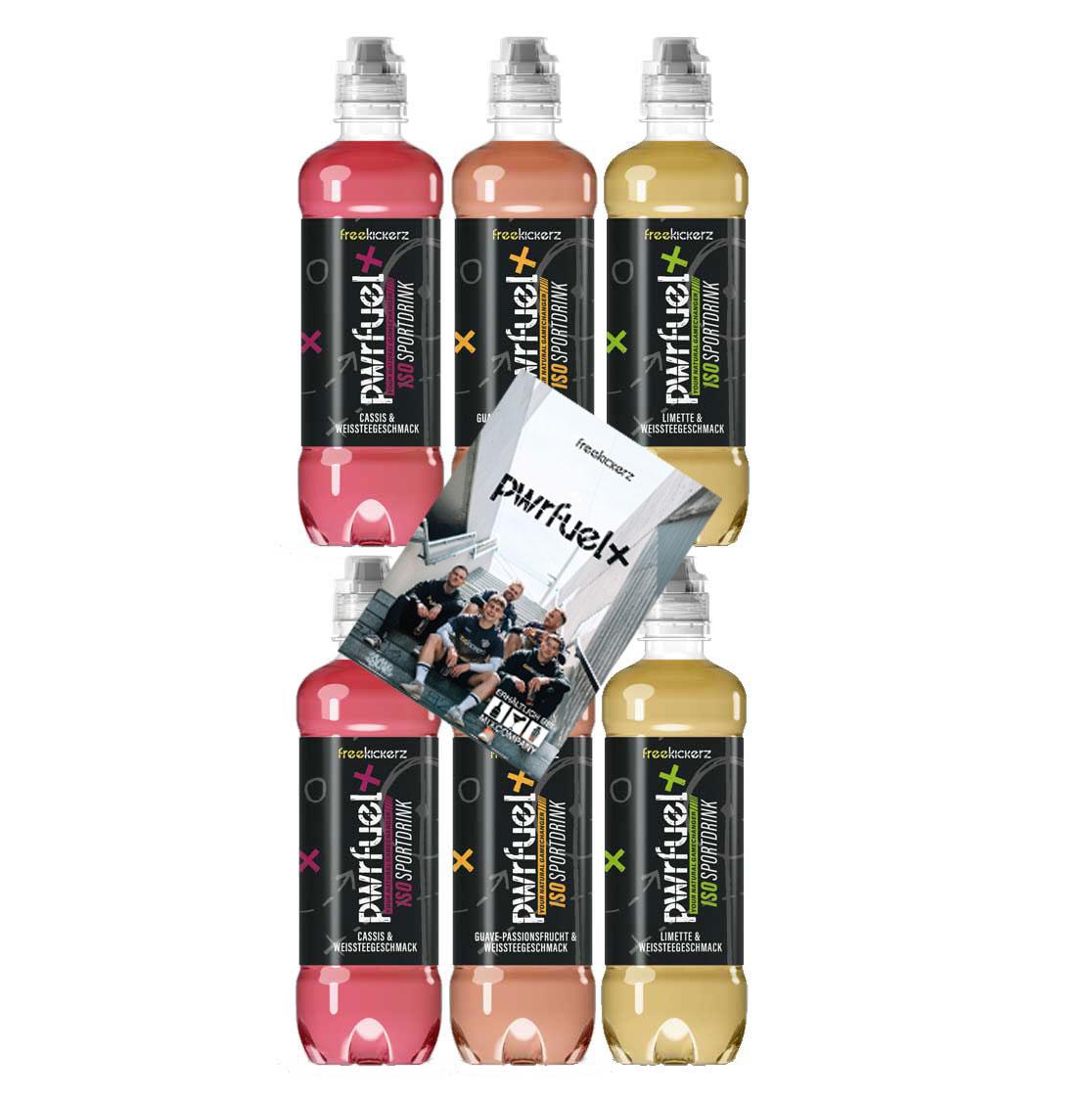 Pwrfuel 6er Tasting Set - Freekickerz Pwrfuel 2x Cassis + 2x Guave-Passionsfrucht + 2x Limette mit Autogrammkarte je 500ml Power Iso Sportdrink inkl. Pfand EINWEG
