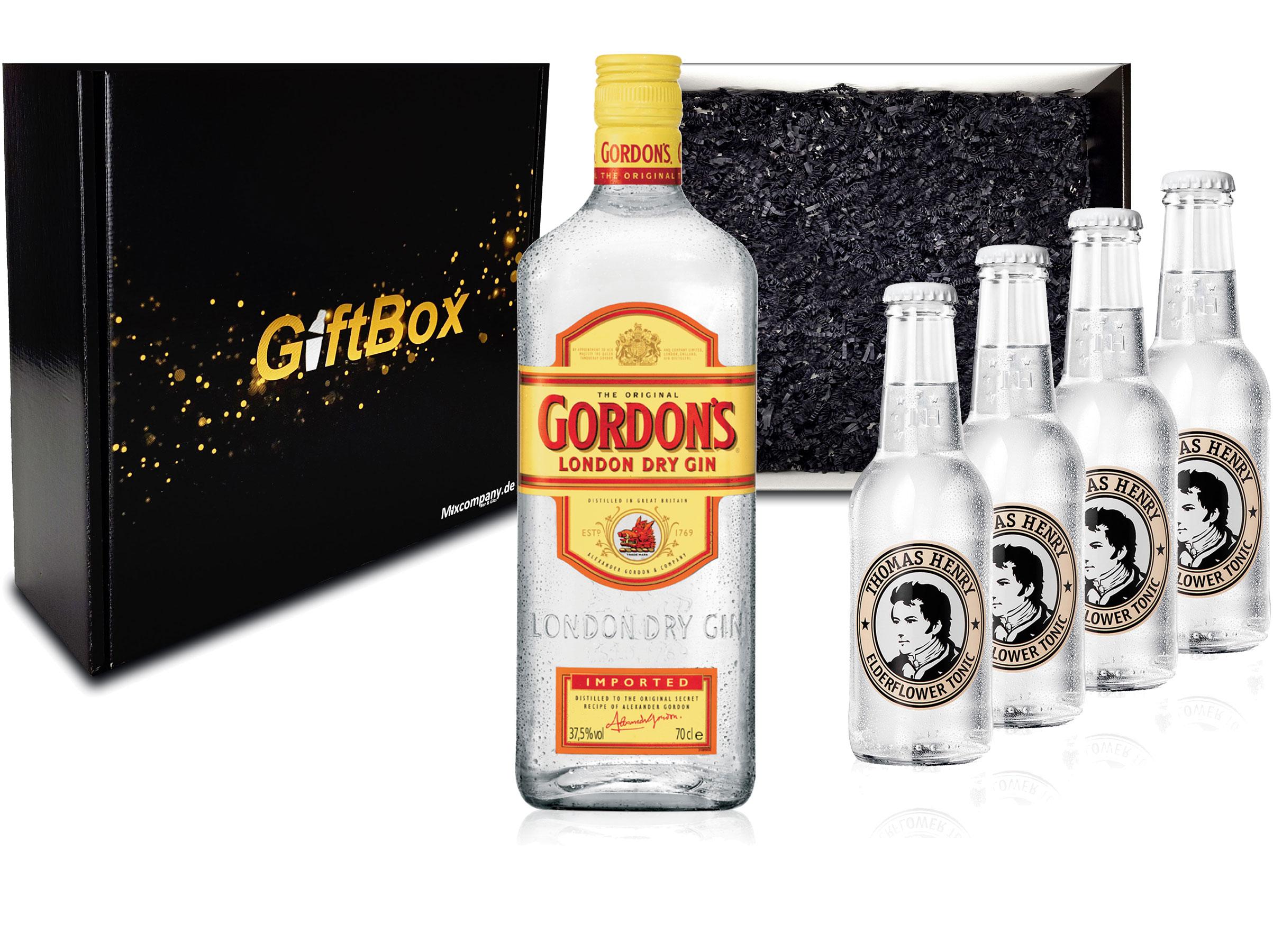 Gin Tonic Giftbox Geschenkset - Gordons Gin 0,7l 700ml (37,5% Vol) + 4x Thomas Henry Elderflower Tonic Water 200ml inkl. Pfand MEHRWEG + Geschenkverpackung