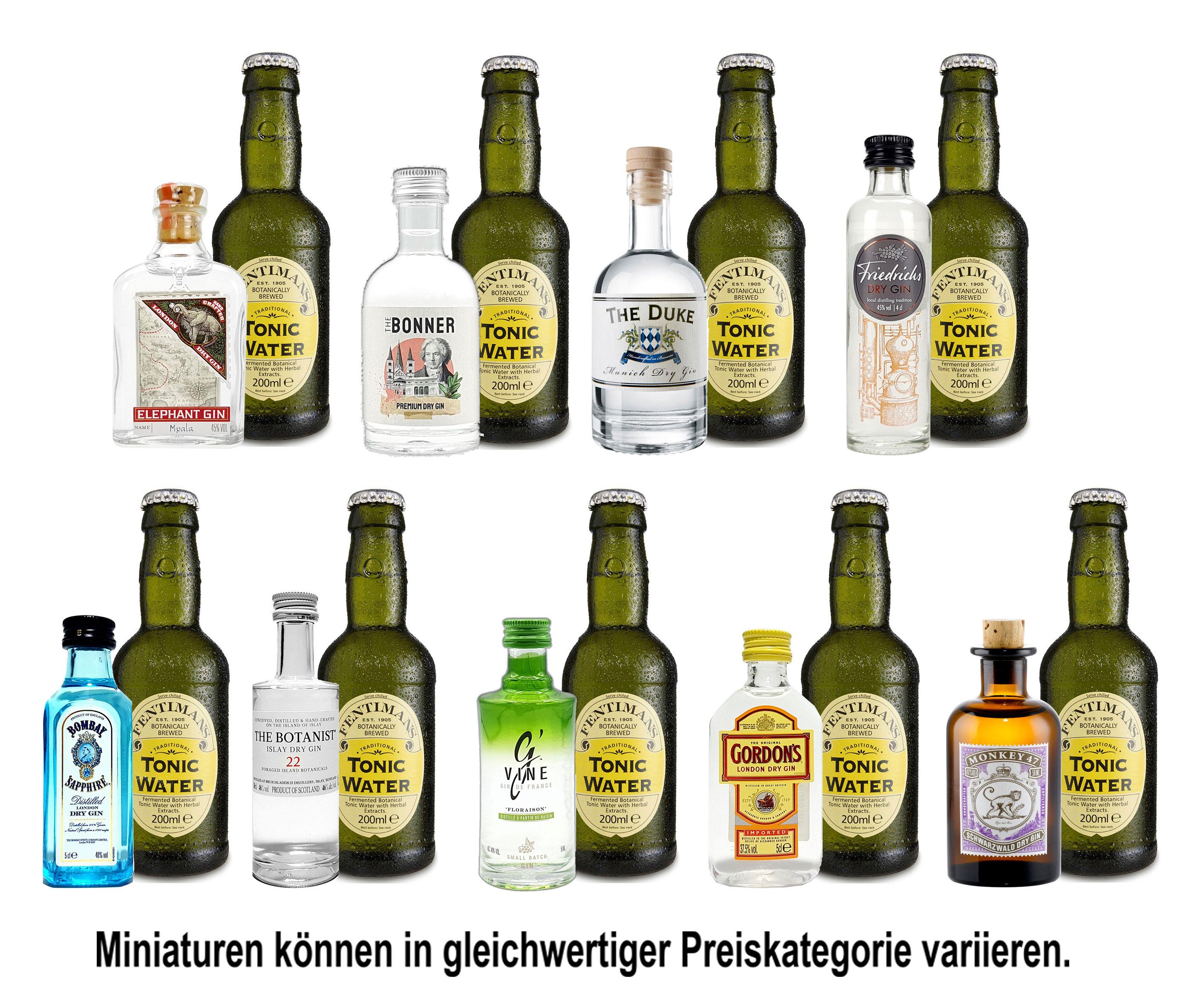Mini Gin Tonic Probierset - 9 verschiedene Gin Sorten + 9x Fentimans Tonic Water 200ml inkl. Pfand MEHRWEG - NEU