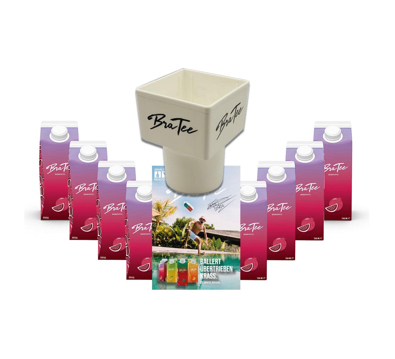 Capital BraTee 8er Set Eistee Granatapfel Pomegranate 750ml Ice tea + Gratis Getränkehalter + Autogrammkarte BRATEE mit Granatapfelgeschmack - Schmeckt wie es klingt - einfach Granate