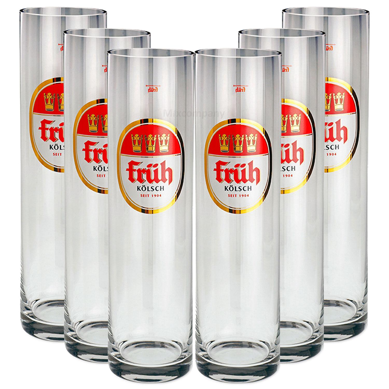 Früh Kölsch Biergläser / Gläser / Stangen Set - 6x 0,4l
