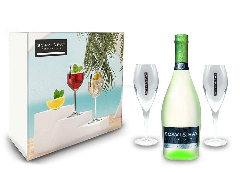 Scavi & Ray Giftbox Geschenkset - Scavi & Ray Hugo Aperitivo 0,75l (6% Vol) + 2x Flöten (10cl) -[Enthält Sulfite]