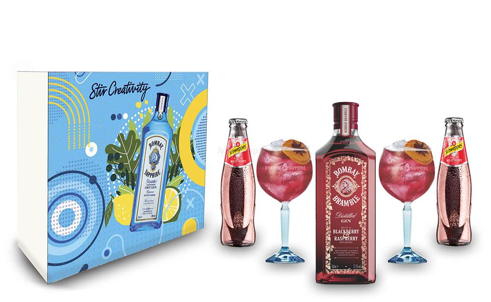 Bombay Bramble Wildberry Geschenkset - Bombay Blackberry Gin 0,7l (37,5% Vol) + 2er Set Ballon Glas + 2x Schweppes Wildberry 200ml - Inkl. Pfand MEHRWEG- [Enthält Sulfite]
