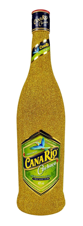 Canario Cachaca Zuckerrohrschnaps 0,7l 700ml (40% Vol) Bling Bling Glitzerflasche in gold -[Enthält Sulfite]