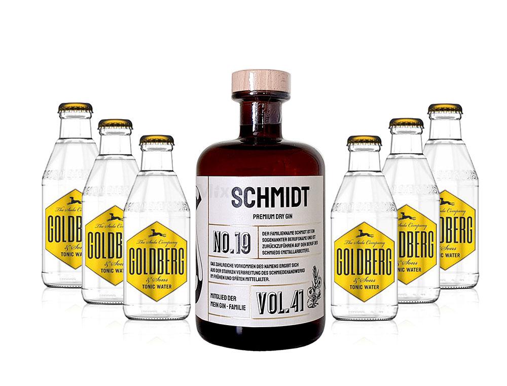 Mein Gin - Schmidt Premium Dry Gin 0,5l (41% Vol) - Schmidt s Gin No.19 + 6x Goldberg Tonic Water 200ml inkl. Pfand MEHRWEG -[Enthält Sulfite]