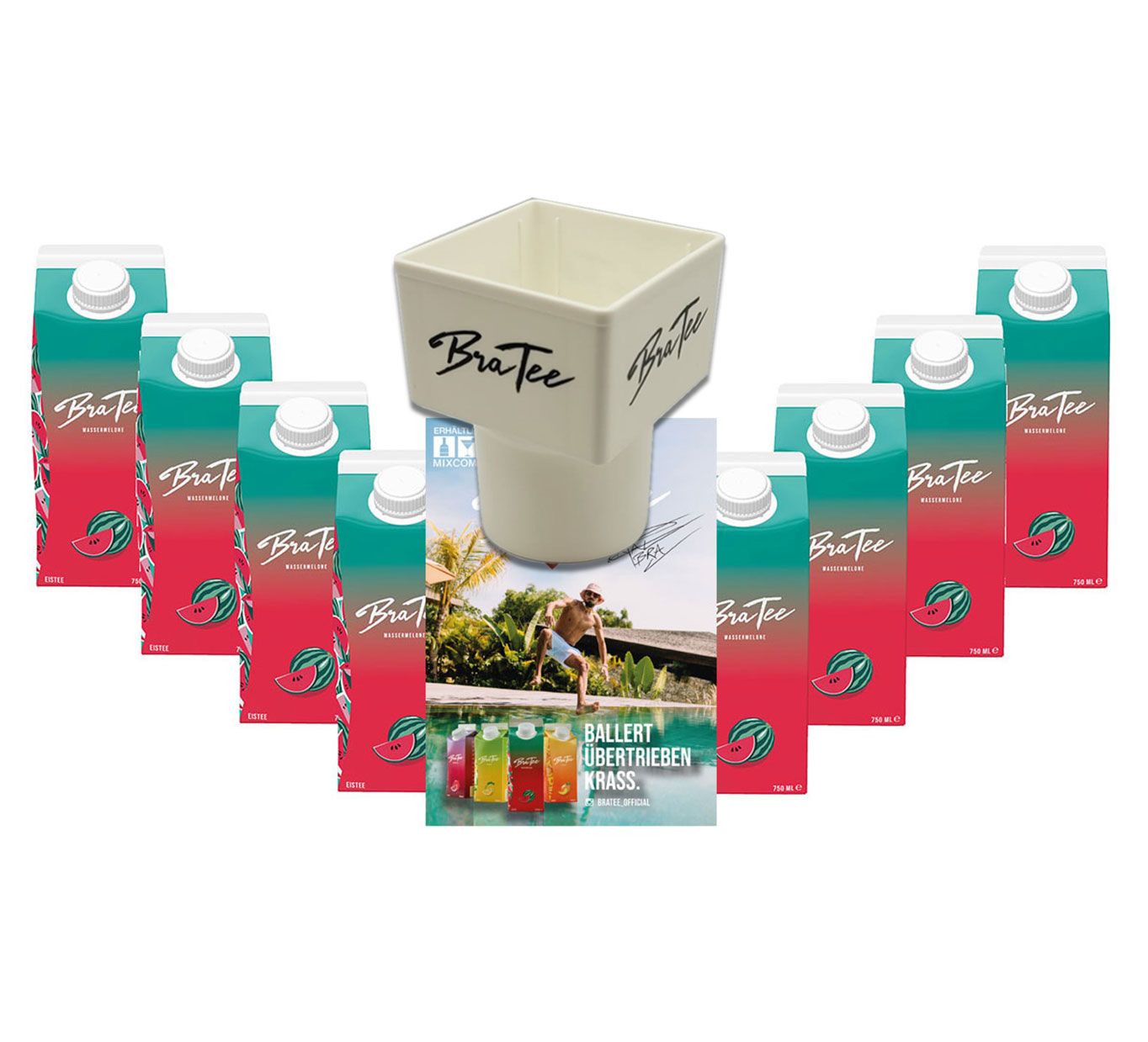 Capital BraTee 8er Set Eistee Wassermelone water melon 750ml + Gratis Getränkehalter + Autogrammkarte BRATEE Ice tea - Heftig fruchtiger BraTee mit Wassermelonengeschmack - nicht zu süß, genau perfekt