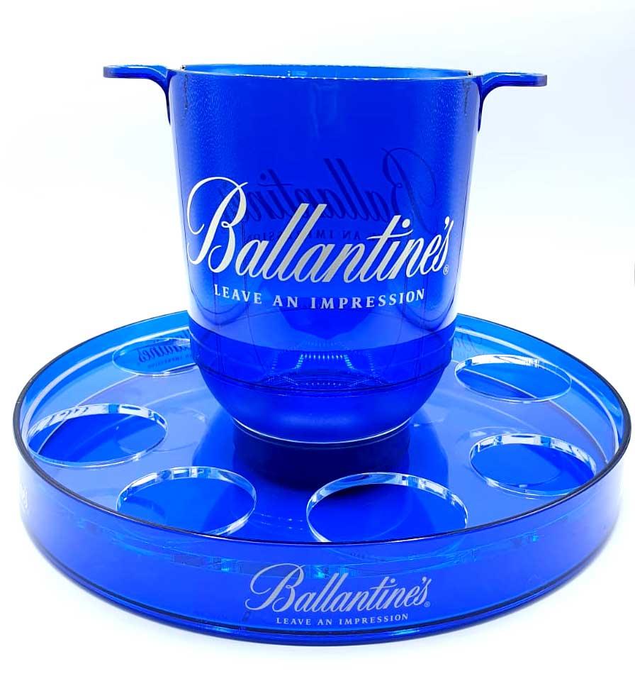 Ballantines Kühler + Gläser Display beleuchtet mit Akku / Flaschenkühler / Eisbox