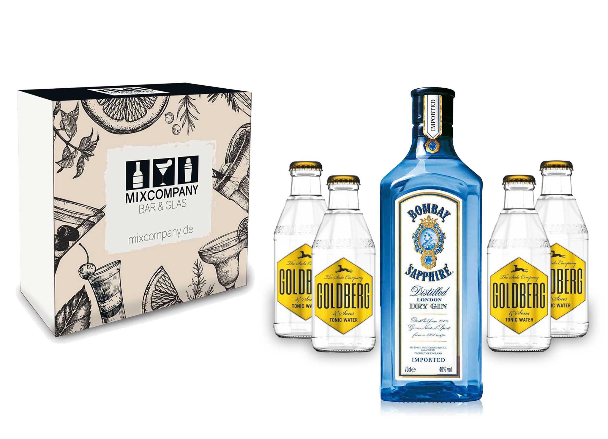 Gin Tonic Giftbox Geschenkset - Bombay Sapphire 0,7l 700ml (40% Vol) + 4x Goldberg Tonic Water 200ml inkl. Pfand MEHRWEG + Geschenkverpackung