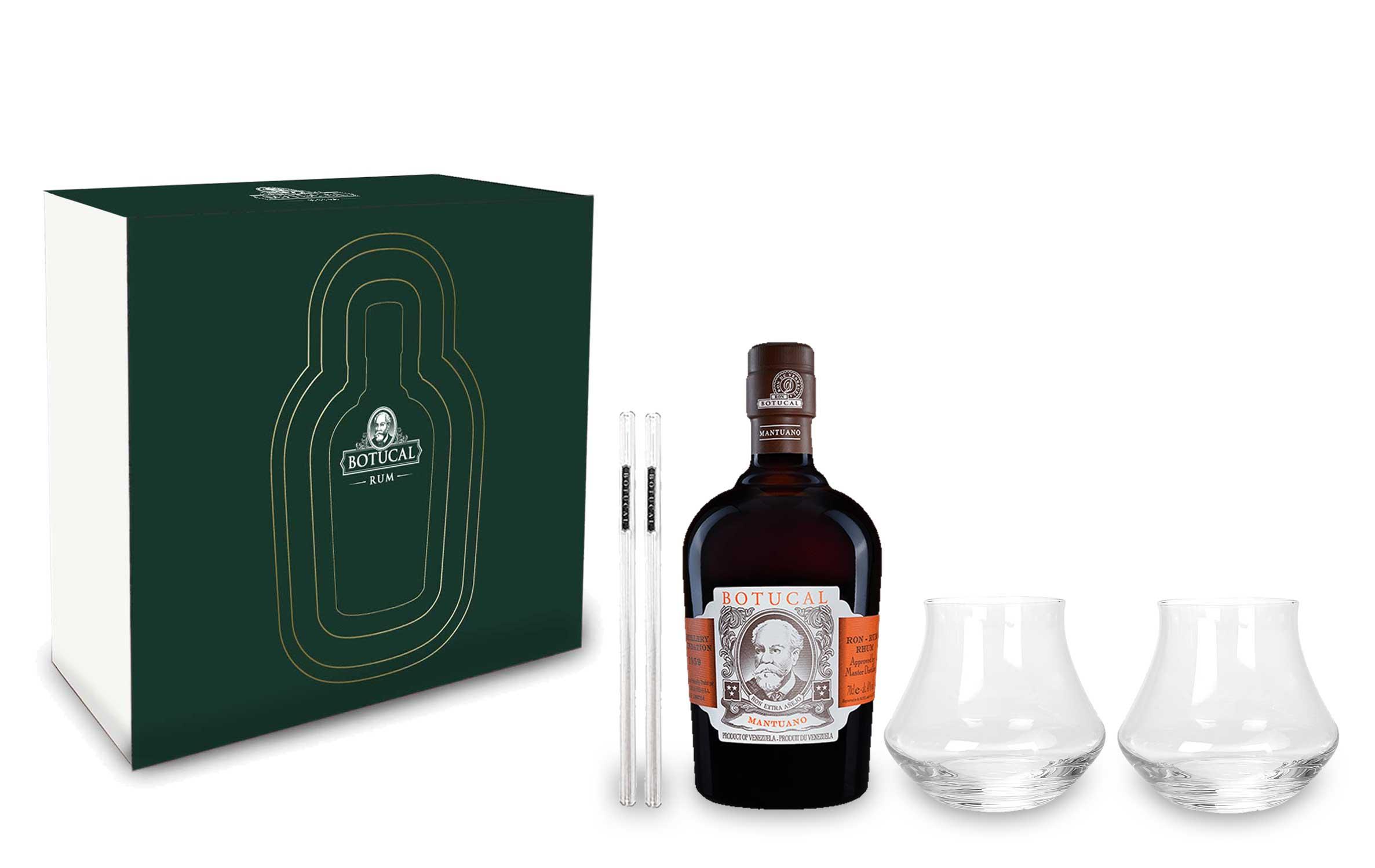 Botucal Mantuano Schuber Geschenkset Ron Extra Anejo 0,7l (40% Vol) + 2x Botucal Glas / Tumbler 2x Botucal Glashalm- [Enthält Sulfite]