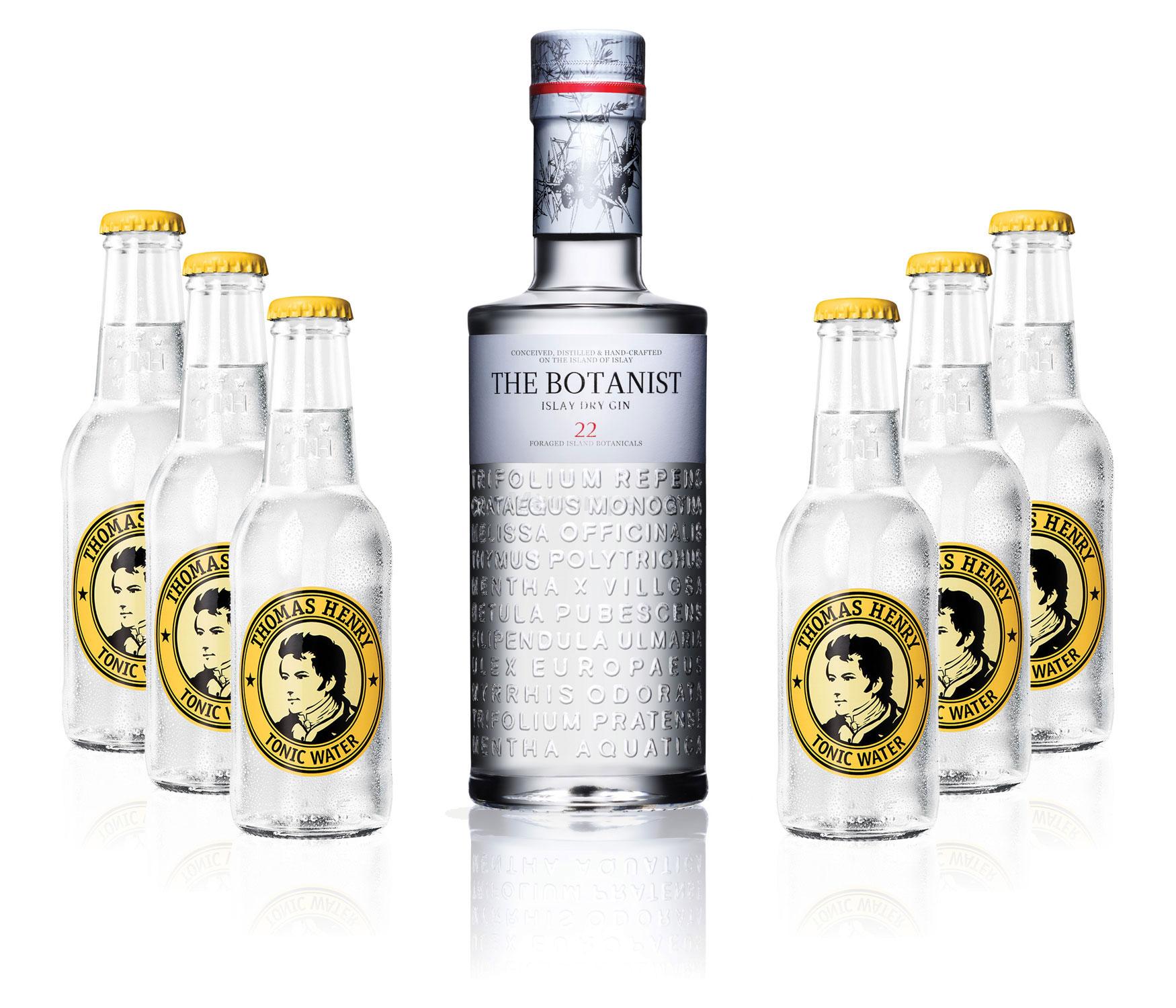 Gin Tonic Set - The Botanist Islay Dry Gin 0,7l 700ml (46% Vol) + 6x Thomas Henry Tonic Water 200ml inkl. Pfand MEHRWEG