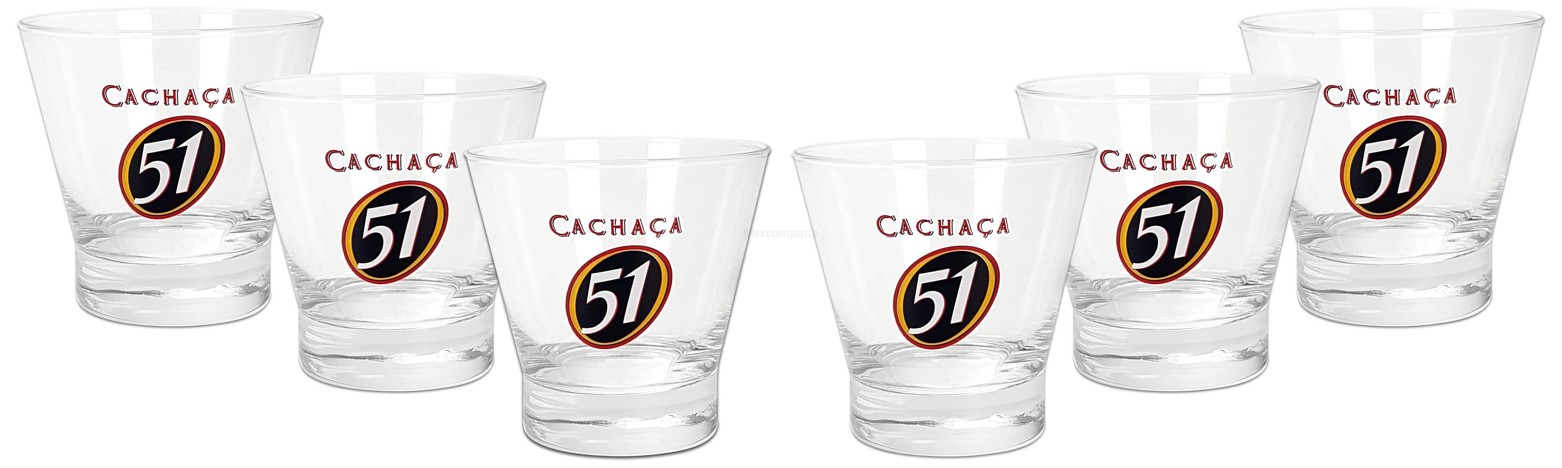 Cachaca 51 Tumbler Glas Gläser Set - 6x Tumbler 2/4cl geeicht