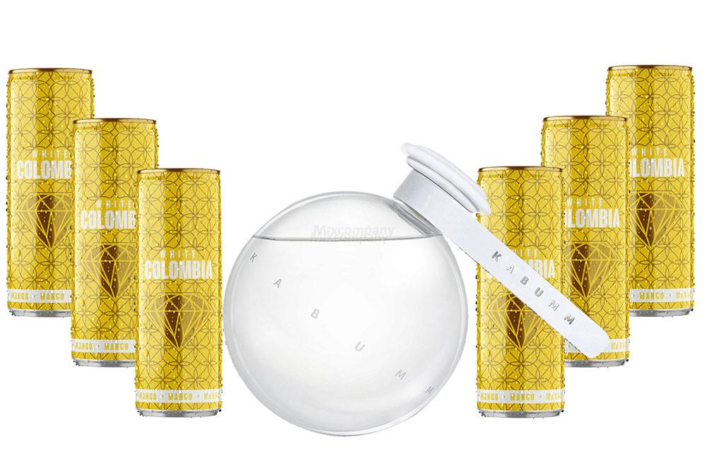Kabumm Premium Gin 0,7l 700ml (40% Vol) + White Colombia Mango Set - Erfrischungsgetränk mit Mango-Maracuja-Geschmack - 6x 250ml inkl. Pfand EINWEG - [Enthält Sulfite]
