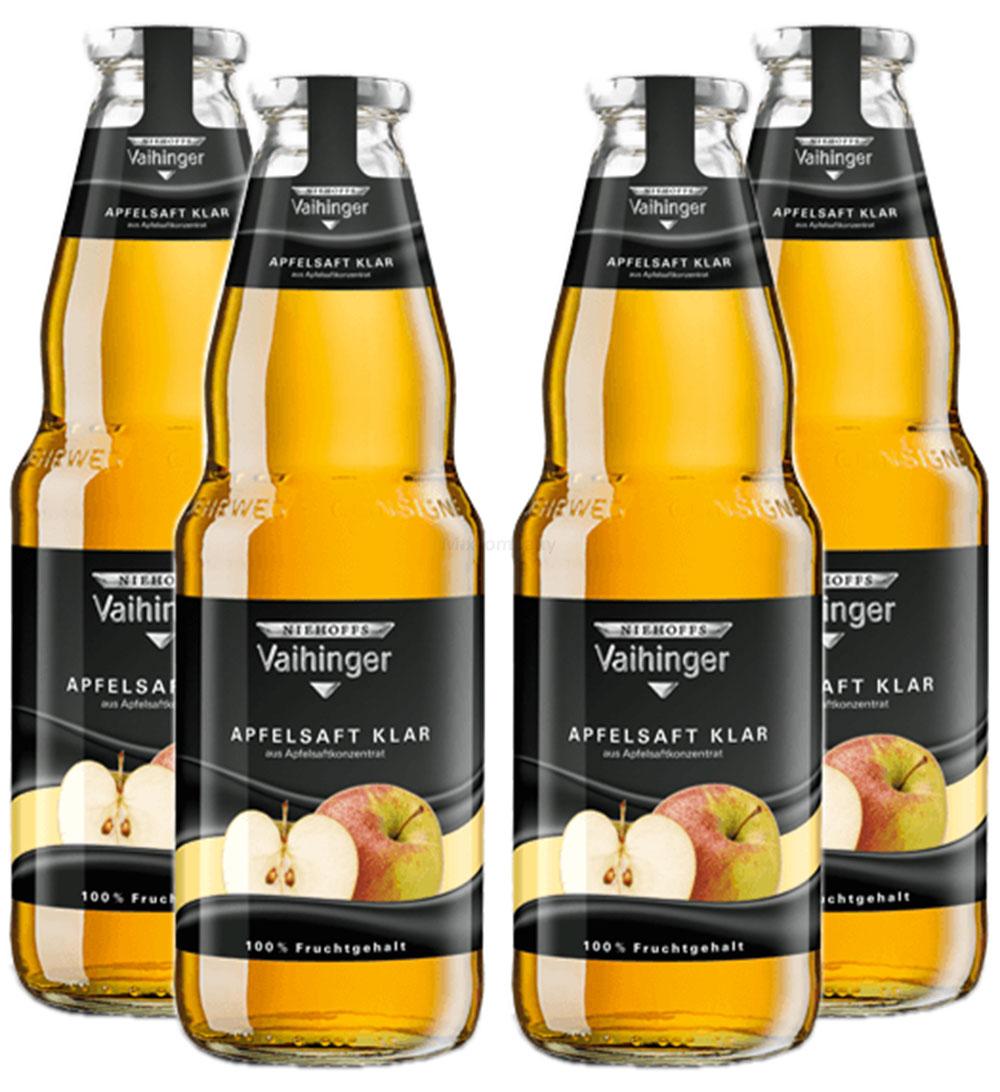 Niehoffs Vaihinger Apfelsaft klar 1L TWO -4er Set inkl. Pfand MEHRWEG