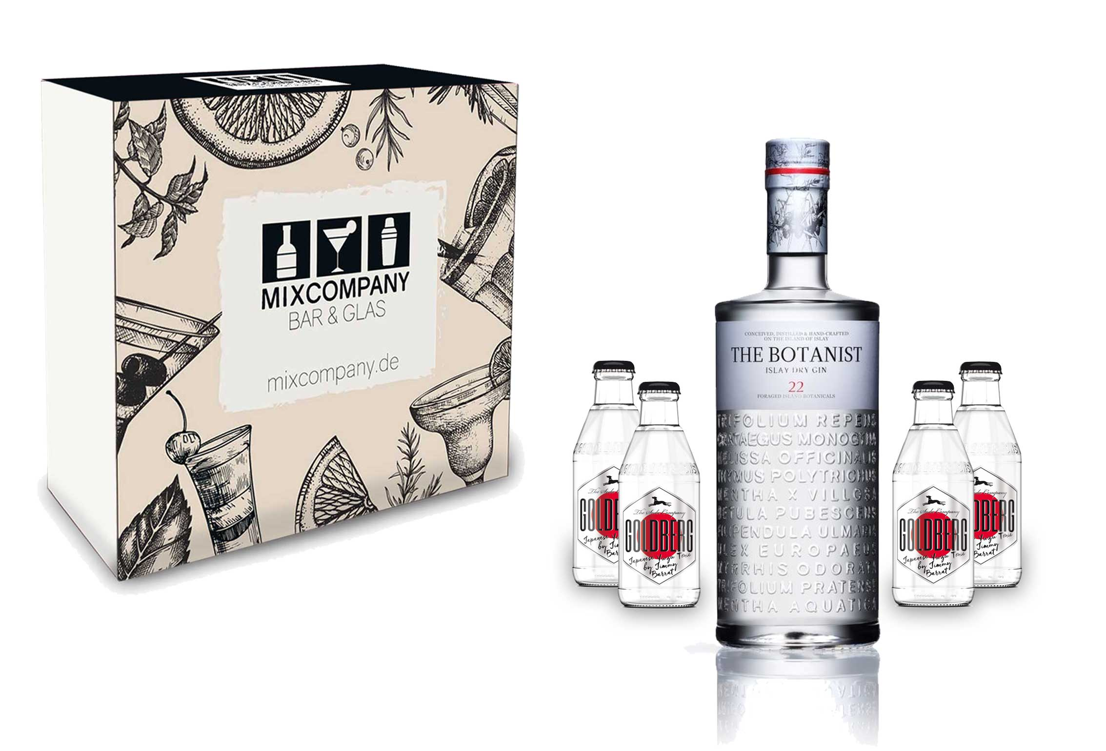 Gin Tonic Set Giftbox Geschenkset - The Botanist Islay Dry Gin 0,7l 700ml (46% Vol) + 4x Goldberg Japanese Yuzu Tonic Water 200ml inkl. Pfand MEHRWEG -[Enthält Sulfite]