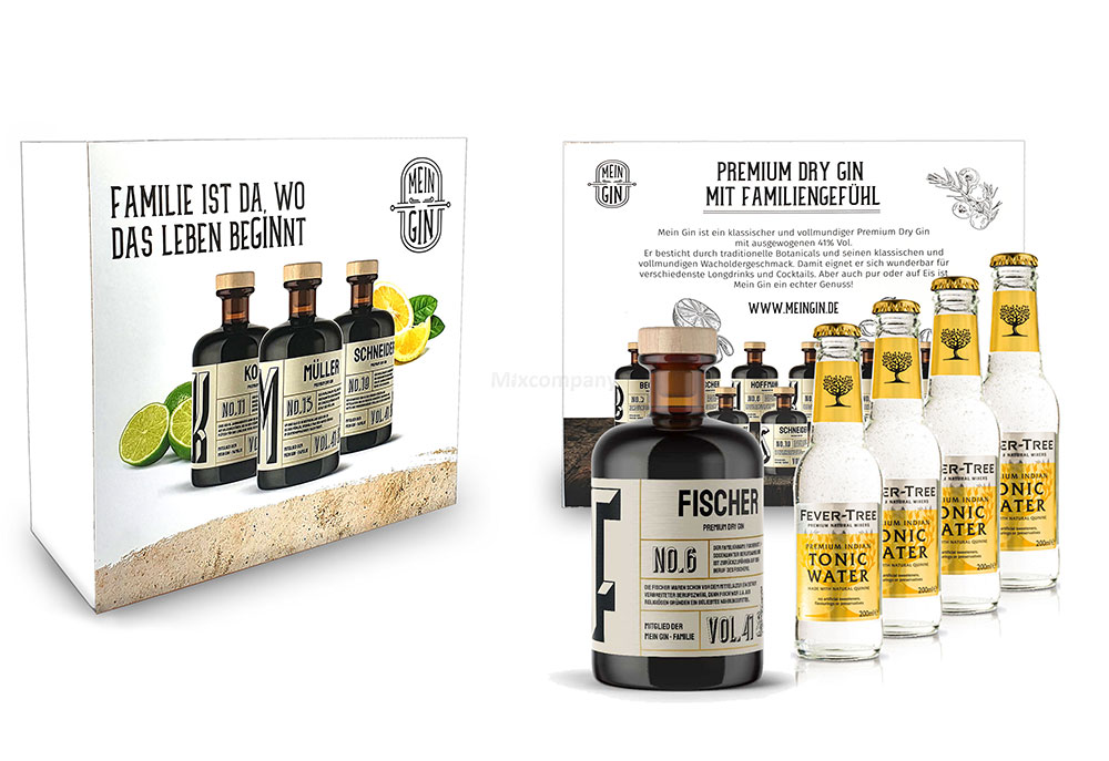 Mein Gin + Tonic Giftbox Geschenkset - Fischer Premium Dry Gin 0,5l (41% Vol) - Fischer s Gin No.6 + 4x Fever-Tree Indian Tonic Water 200ml inkl. Pfand MEHRWEG -[Enthält Sulfite]