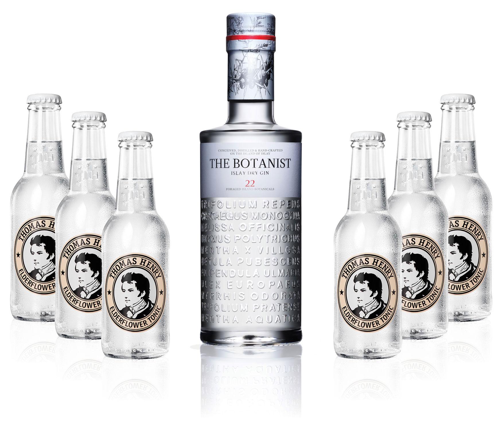 Gin Tonic Set - The Botanist Islay Dry Gin 0,7l 700ml (46% Vol) + 6x Thomas Henry Elderflower Tonic Water 200ml inkl. Pfand MEHRWEG