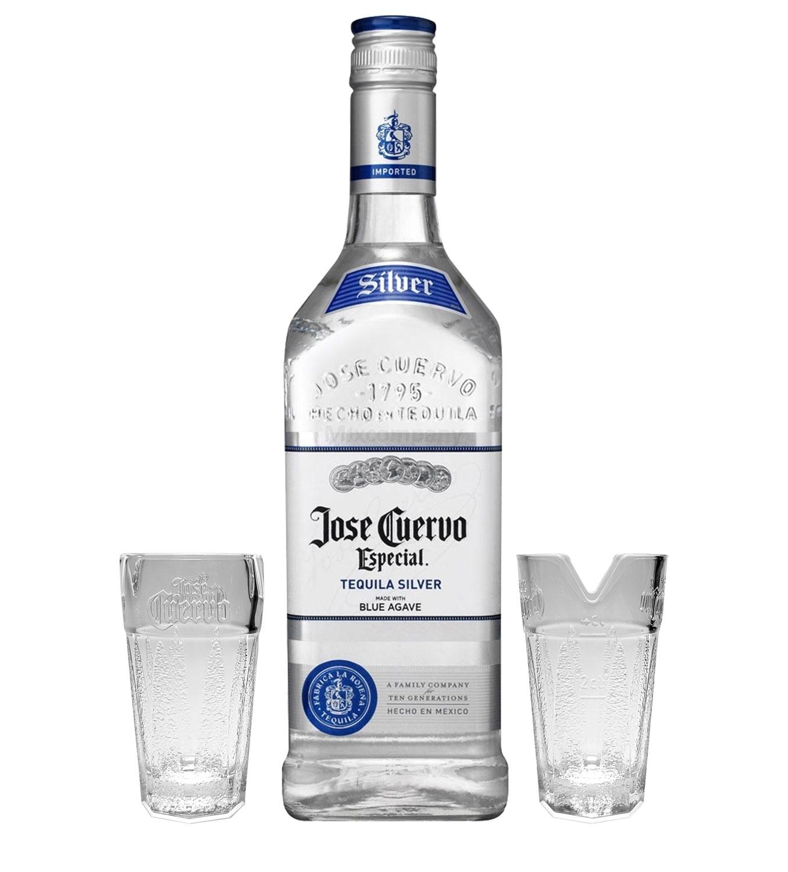 Jose Cuervo Silver Tequila Especial 0,7l 700ml (38% Vol) + 2x Shotgläser 2/4cl geeicht mit Limettenhalter -[Enthält Sulfite]