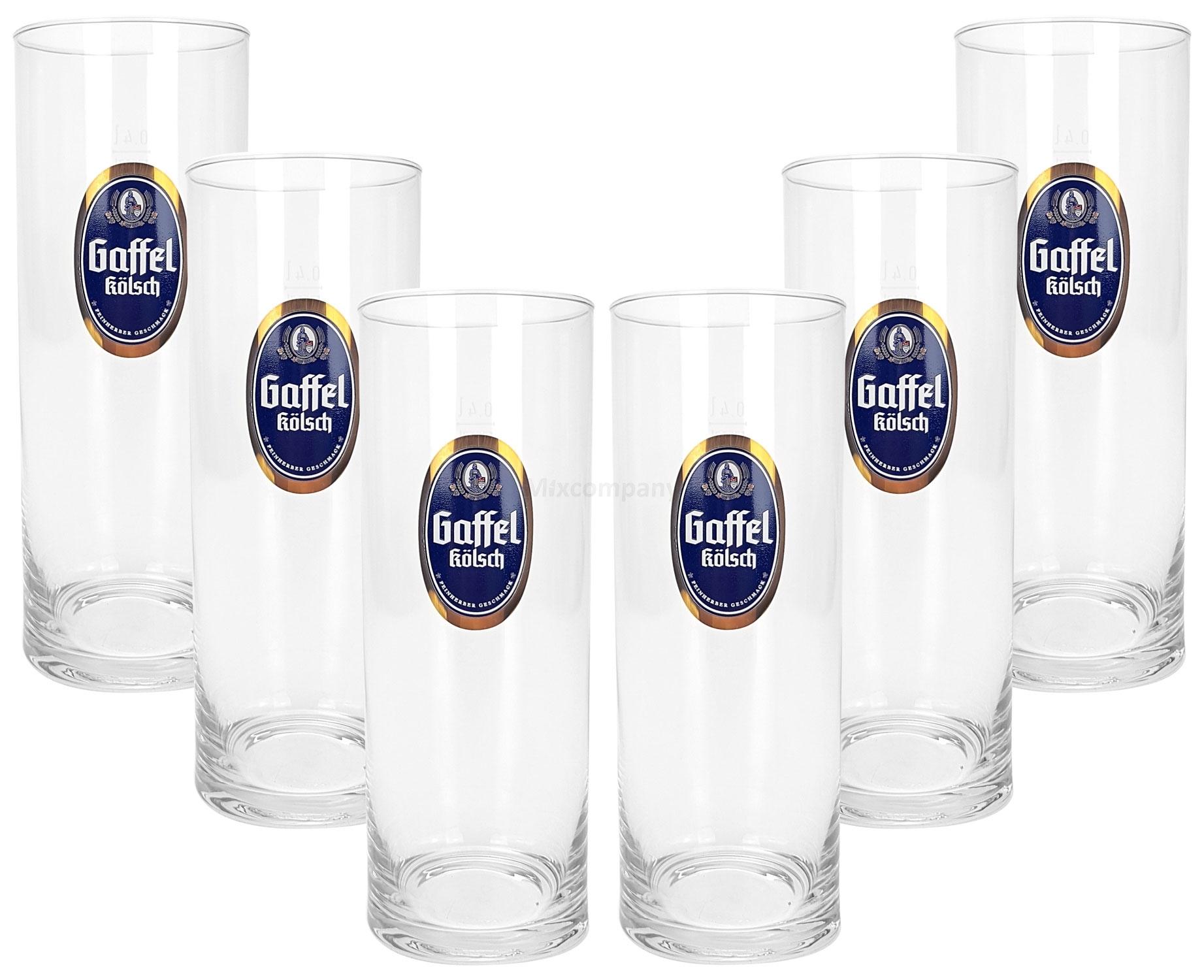 Gaffel Kölsch Stange Bierglas Glas Gläser Set - 6x Kölschstangen 0,4l geeicht