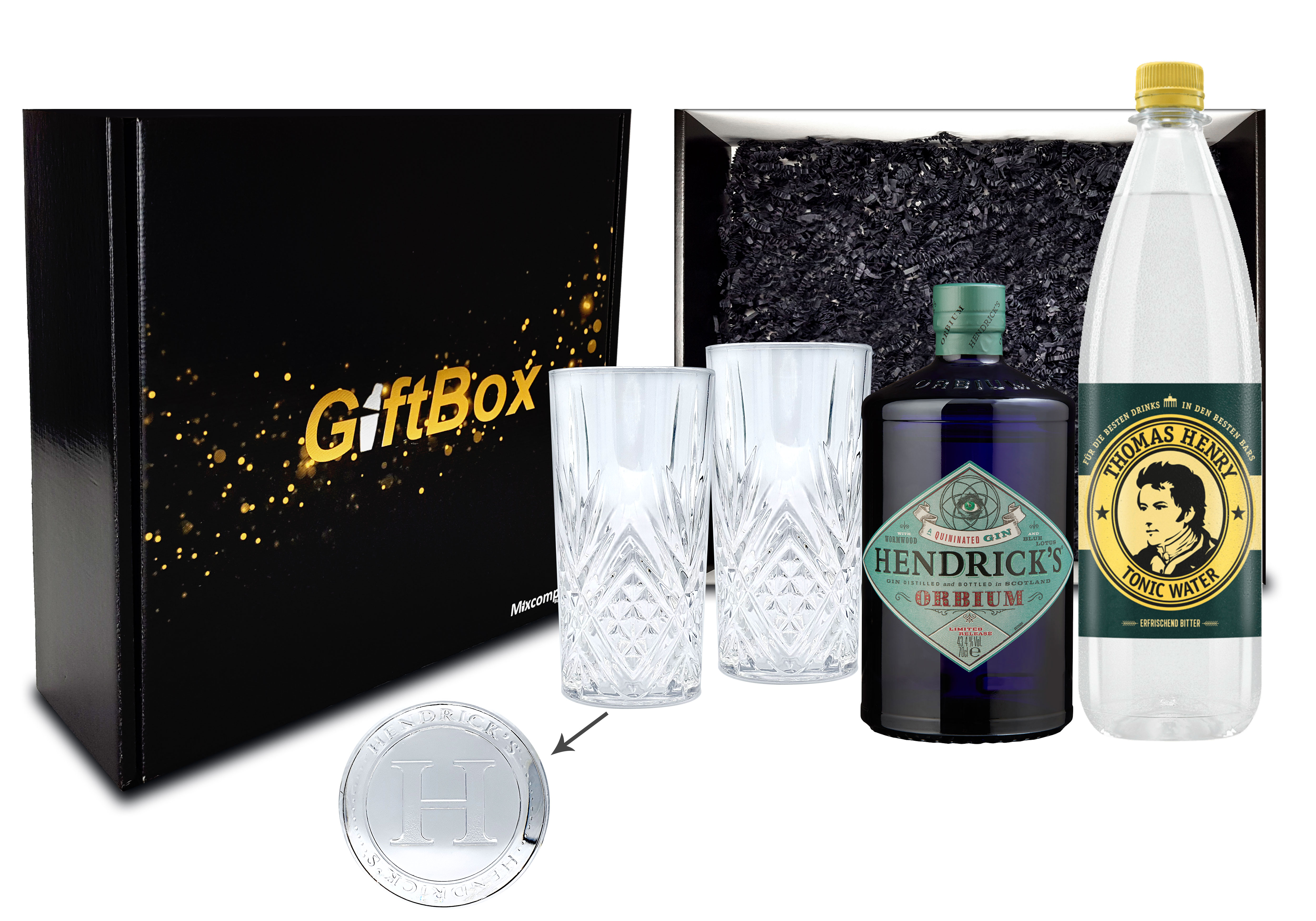 Hendricks Gin Tonic Geschenkset - Hendricks Orbium Gin 0,7L (43,4% Vol) + Thomas Henry Tonic Water 1L (inkl. Pfand MEHRWEG) + 2x Longdrink Gläser + Giftbox - [Enthält Sulfite]