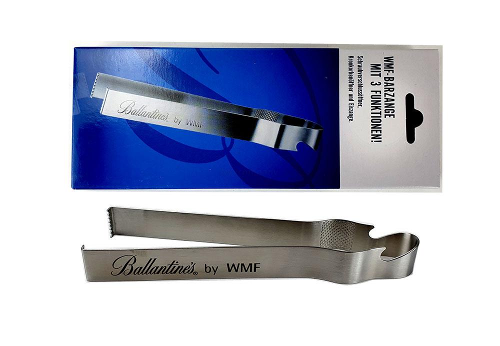 Ballantine's WMF Barzange - Eiszange / Schraubverschlussöffner / Kronkorkenöffner aus Metall