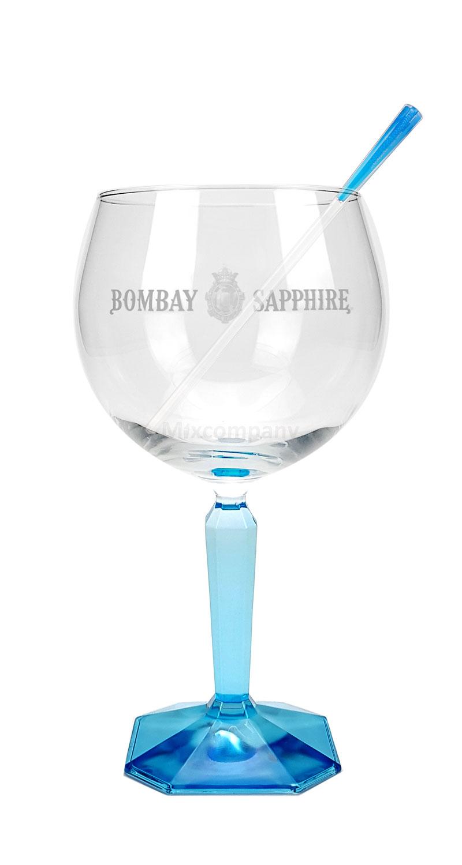 Bombay Sapphire Ballon Glas Ballonglas Weinglas + Bombay Stirrer
