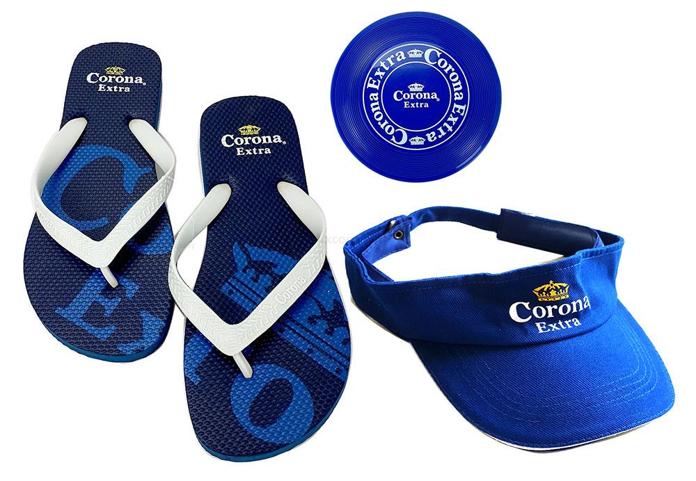 Corona Set - Flip Flop Größe 39 + Frisbee + Corona Cap / Kappe