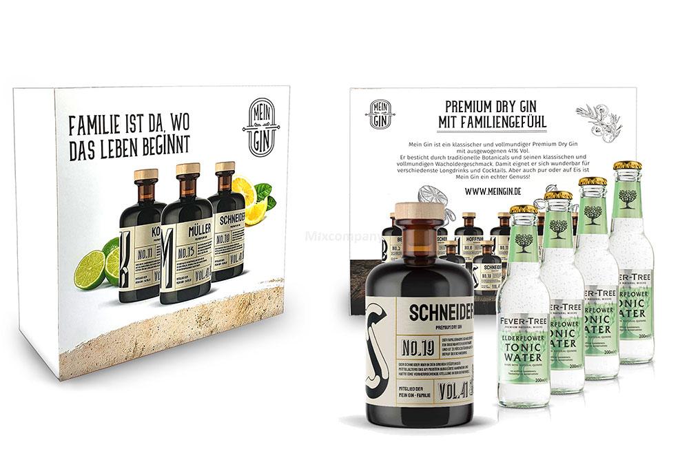 Mein Gin + Tonic Giftbox Geschenkset - Schneider Premium Dry Gin 0,5l (41% Vol) - Schneider s Gin No.19 + 4x Fever-Tree Elderflower Tonic Water 200ml inkl. Pfand MEHRWEG -[Enthält Sulfite]