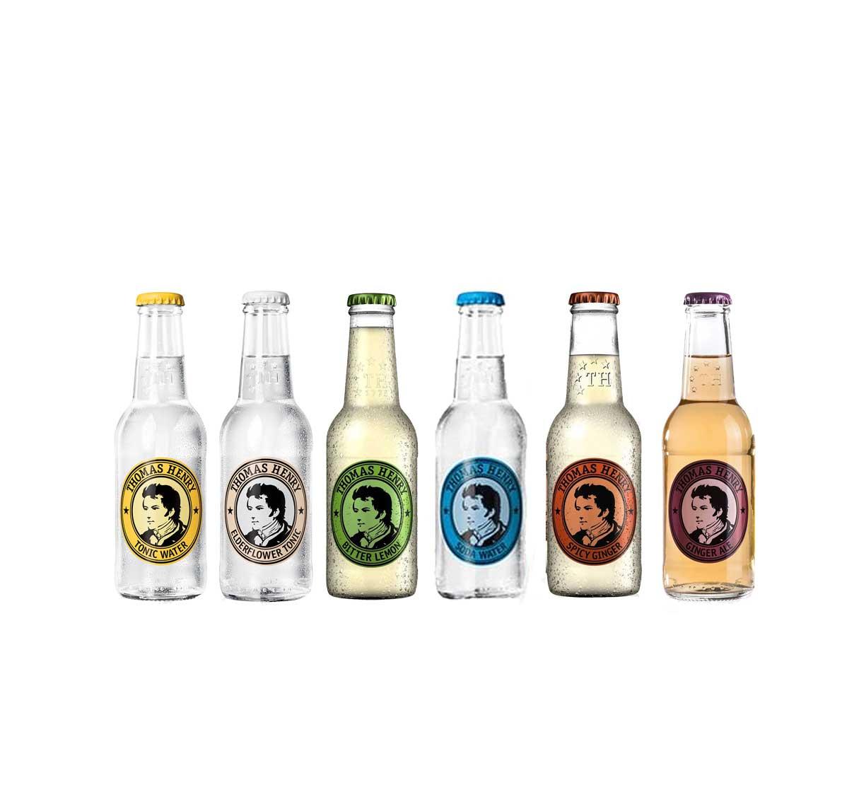 Thomas Henry Probierset - 6 Sorten - Ginger Ale, Bitter Lemon, Spicy Ginger, Tonic Water, Eldeflower Tonic, Soda Water - Inkl. Pfand MEHRWEG