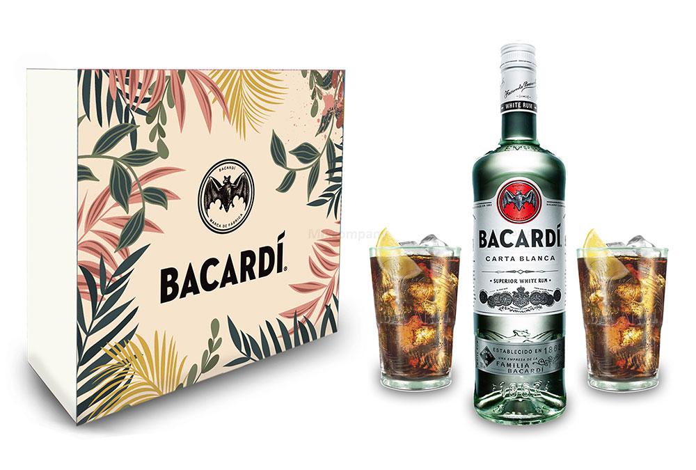 Giftbox Geschenkset Bacardi Carta Blanca Rum 0,7l 700ml (37,5% Vol) + 2xGläser - Longdrink Glas