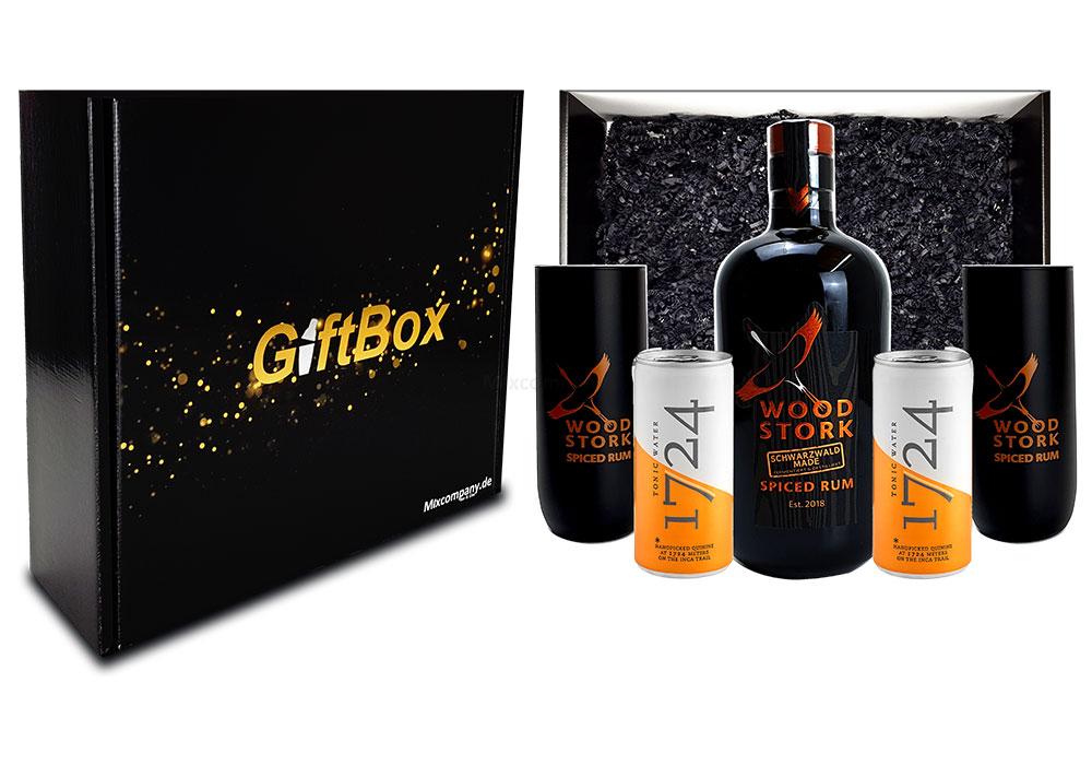 Mixcompany Geschenkset - Wood Stork Rum 0,5L (40%Vol) + 2 x Wood Stork Glas + 2 x 1724 Tonic Water 0,2l EINWEG inkl. Pfand- Wood Stork Rum Geschenk Set [Enthält Sulfite]